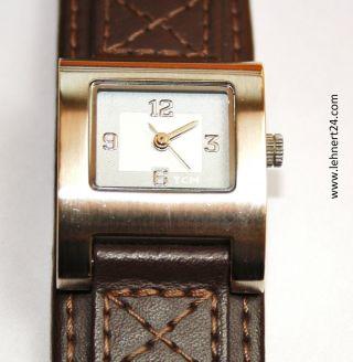 Damenuhr Tcm Leder Armband Braun Breit Eta 802.  105 Werk Mit Neuer Batterie.  Top Bild