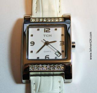 Damenuhr Tcm Leder Armband Beige Weiße Steine Eta 803.  114 Werk Neue Batterie Top Bild
