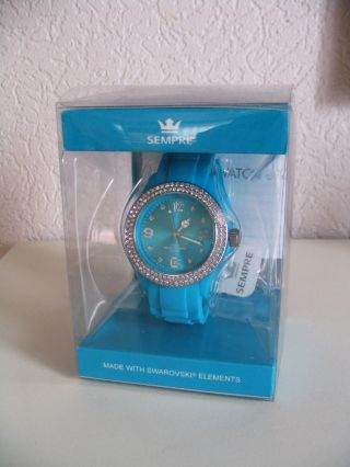 Sempre Colour Watch Armbanduhr Uhr Kristalledition Swarovski Elements Blau Bild