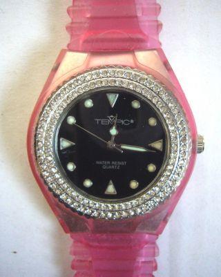 Tolle Damen Mädchen Uhr Tempic Rosa Pink Mit Strass - Wow Eyecatcher,  Blogger Bild