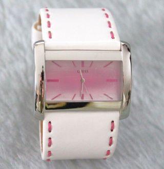 Guess Damen - Armbanduhr Weiß/pink Lederband Breit Nicht Getragen Ovp Bild