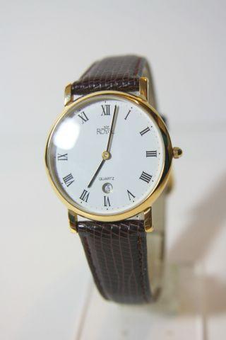 Schöne Flache Vergoldete Royal Quartz Armbanduhr Echtlederarmband Bild