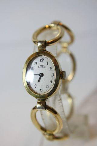 Alte Vergoldete Emes Damenarmbanduhr Kal.  Emes 5a Bild