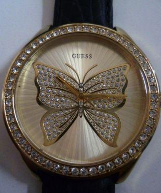 Guess Usa - Modell Armbanduhr Damenuhr Uhr Schmetterling Gold Neuwertig Leder Bild