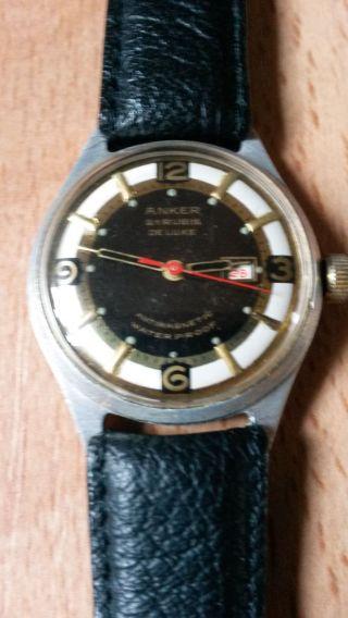 Anker De Luxe,  21 Rubis,  Vintage,  Armbanduhr,  Datum,  Lederarmband,  Handaufzug Bild