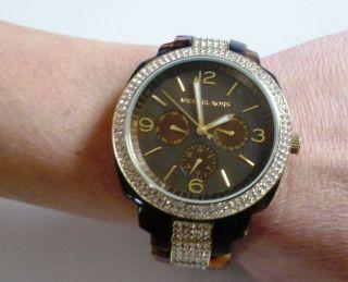 Micheal Kors Mk Armbanduhr Damenuhr Uhr Gold Neuwertig Horn Mk 5058 Braun Bild