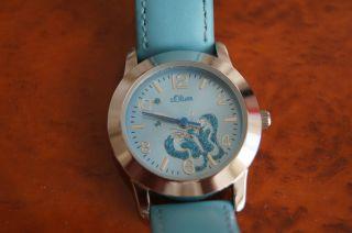 S.  Oliver Damen/mädchen Uhr Leder Hellblau Mit Schmetterling Bild