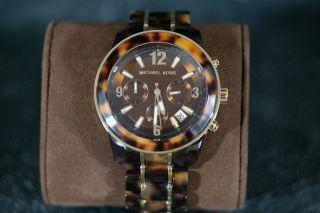 Michael Kors Mk5805 Luxus Chronograph / Harz - Uhr Braun - Gold Ovp Damen Bild