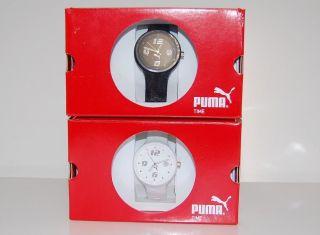 Puma Damenuhr Slick Ladies Resin - Armband Quarzwerk Chronograph Weiß Schwarz Bild