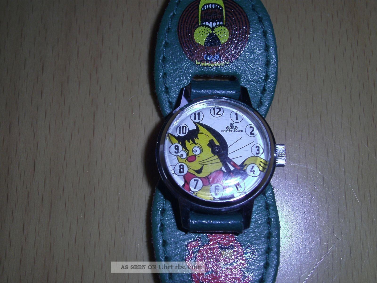 Alte Wackelaugenuhr Katze (meister Anker) Armbanduhren Bild