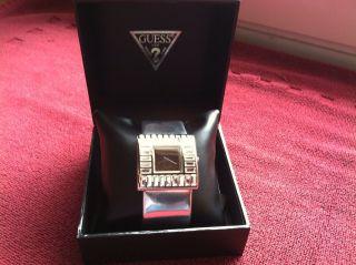 Guess Martini Damen Armbanduhr Dau Kristalle Steine Silber Leder Luxus Bild