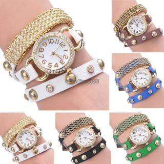 Quarz Goldkette Armbanduhr Wrap Leder Mädchen Charm Armband Analog Frauen C5 Bild