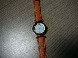 Uhr - Damenarmbanduhr - - Orangebraunes Band - Rosevergoldete Uhr Bild