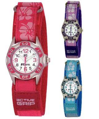 Ravel Mädchen - Kinder Hibiskus Klettband Uhr - Weihnachtsgeschenk Für Sie R1507 Bild