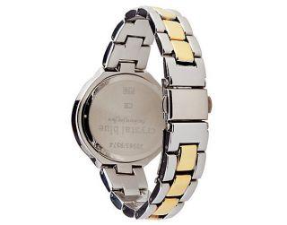 Crystal Blue Damen Armbanduhr Uhr Damenuhr Edelstahl Bicolor Silber Gold - Bild