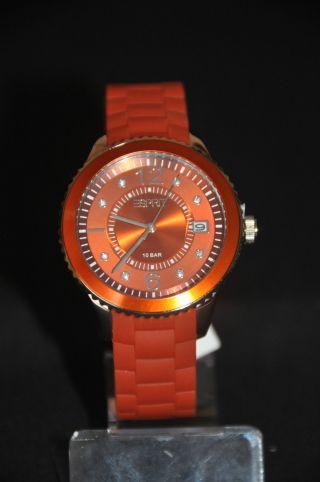 Esprit Es105342019 Damen Armbanduhr Uhr Orange Datum Quarz Mit Etikett Bild