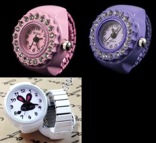 Fingeruhr Uhr Finger Ring Watch Quartz Bunny Pink Purple Glitzer Rhinestone Bild