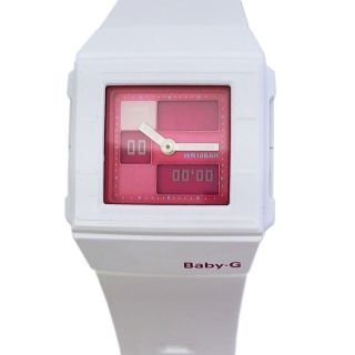 Casio Baby - G Uhr Armbanduhr Alarm Weltzeit Weiß Rosa Rot Eckig Bga - 200 - 7e3er Bild