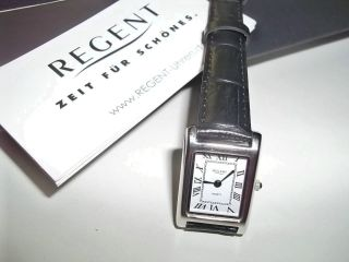 Regent Armbanduhr Quarz Analog Edelstahl,  Leder,  Geschenkkarton Bild