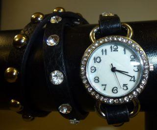 Damen Mädchen Strass Nieten Wrap Wickel 3x Armbanduhr Armband Uhr Schwarz - Bild