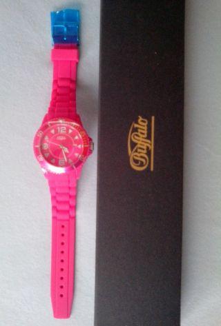 Buffalo Armbanduhr Uhr Silikonband Pink Wasserdicht Mädchen Weihnachtsgeschenk Bild