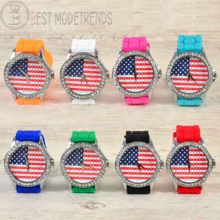 Usa Star Flagge Strass Damenuhr Armband Silikon Uhr Strasssteine Silikonarmband Bild
