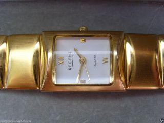 Regent 5 - 8516 Uhr Watch Quartz Vergoldet? 3 Atm Rechteckig Stainless Steel & Box Bild