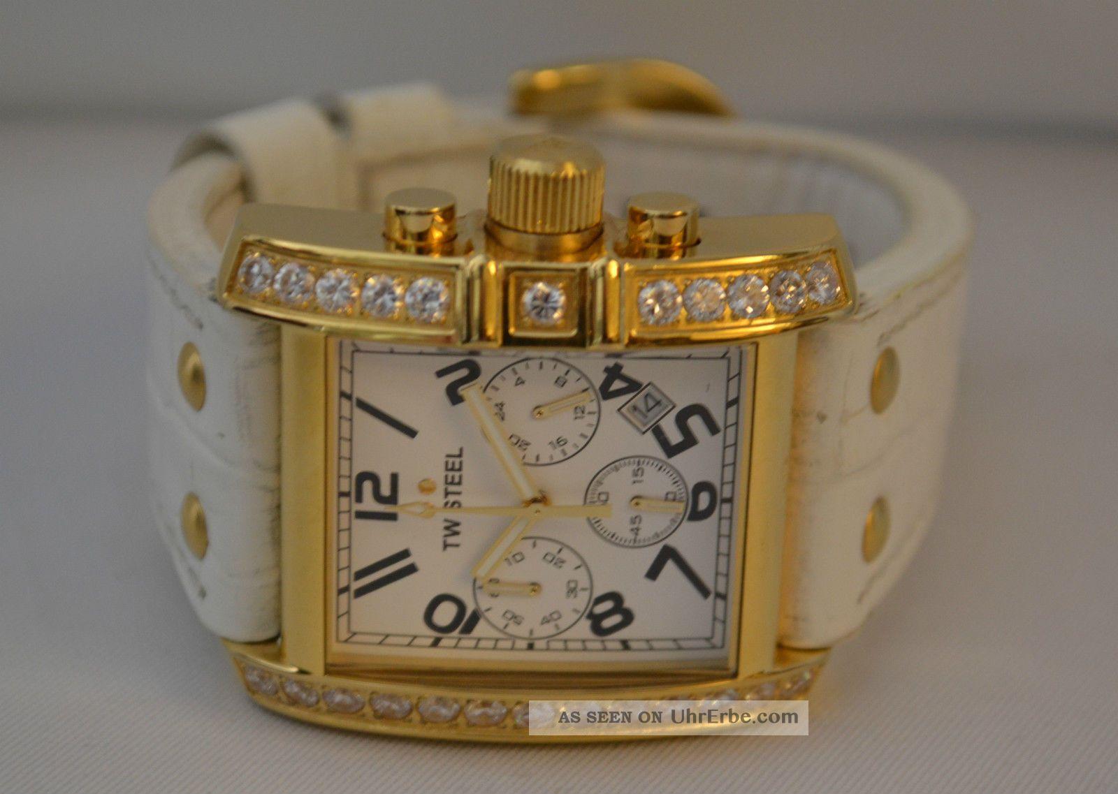 Stylische Tw Steel Damenarmbanduhr Dau Chronograph Datum Zirkonia Inkl Orig.  Box Armbanduhren Bild