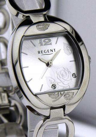 Armbanduhr Regent - Mineralglas - Mit Edelstahl Gliederband - Mit Rose U.  Strass Bild