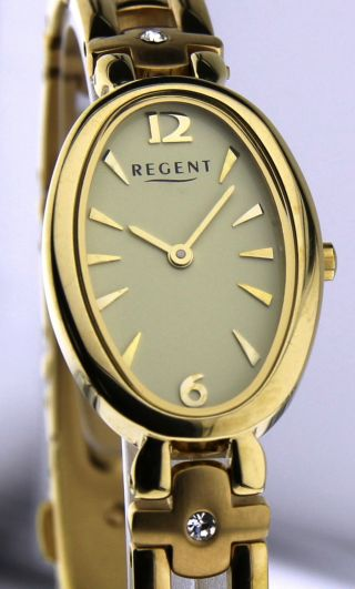 Armbanduhr Regent - Mineralglas - Mit Edelstahl Gliederband - Vergoldet - Strass Bild
