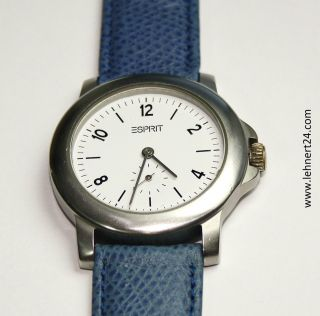 Damenuhr Esprit Leder Armband Blau Neue Batterie Damen Uhr Kleine Sekunde.  Top Bild