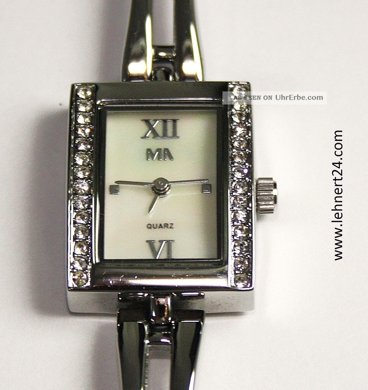 Damenuhr Meister Anker Edelstahl Weiße Steine Neuwertig Mit Neuer Batterie Top Armbanduhren Bild
