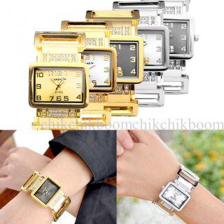 Damen Armbanduhr Spangenuhr Strass Armkette Armreif Uhr Quarzuhr Gold Silber Bild
