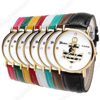 Jy Vintage Damen Armbanduhr Lederarmband Anker Muster Analog Quarzuhr Rosengold Bild