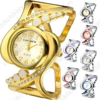 Mode Damen Elegant Armbanduhr Kristall Analog Armspange Uhr Quarzuhr Geschenk Bild