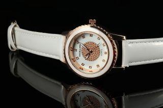 Excellanc Damen Uhr Leder Imitation Armbanduhr Strass Weiß Rosegold Bild