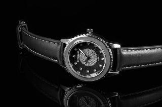 Excellanc Damen Uhr Leder Imitation Armbanduhr Strass Schwarz Silber Bild