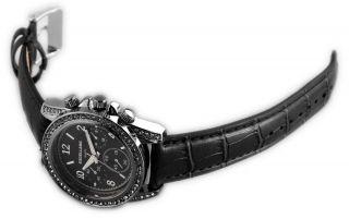 Excellanc Damen Uhr Leder Imitation Armbanduhr Strass Schwarz Silber Chrono Look Bild