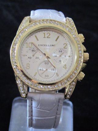 Excellanc Damen - Quartz - Uhr Strass Blingbling Gold Optik Armband Weiss Bild