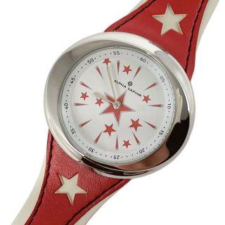 Alpha Saphir Damen Uhr Armbanduhr Star S N Stripes Rot Weiss Stern Leder 322k Bild