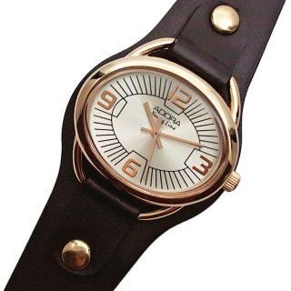 Adora Damenuhr Armbanduhr Oval Rose Rotgold Schwarz Leder Unterlegband 138442 Bild