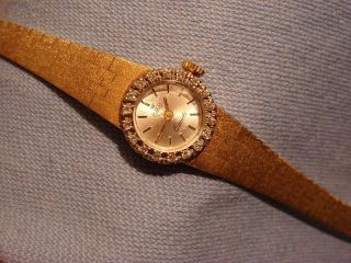 Armbanduhr Mit Diamant - Lünette In 14k Gelbgold,  Armband Massiv Bild