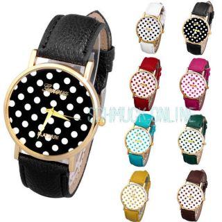 Vintage Polka Dot Damen Armbanduhr Basel - Stil Quarzuhr Lederarmband Uhr Bild