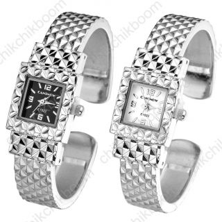 E1022 Klassisch Damen Silber Gitter Schwarz/weiß Gesicht Armbanduhr Quarzuhr Bild