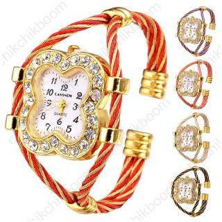 Cansnow Fashion Damen Glänzend Kleeblatt Mit Strass Armbanduhr Quarzuhr Geschenk Bild