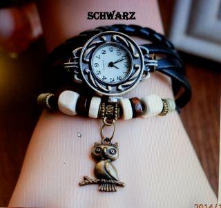 Armbanduhr Rund Modisch Damen Vintage Retro Quartz Analog Eule Anhänger Bild