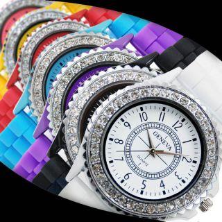 Damen Mädchen Armbanduhr Genfer Kristall Silikon Gel Gummi Uhr 6 Farben Bild