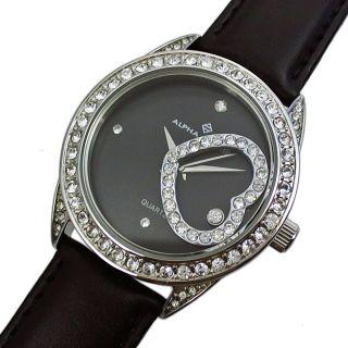 Alpha Saphir Damen Uhr Armbanduhr Herz Beweglich Glitzer Steine Silber Schwarz Bild