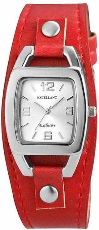 Damenuhr Quartz Excellanc Retro Uhr Pu Leder Armbanduhr In Rot Bild