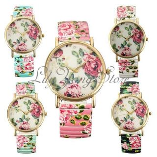 Frauen Mädchen Uhr Armbanduhr Quartz Stretch Armband Rose Blumen Uhren Watche Bild